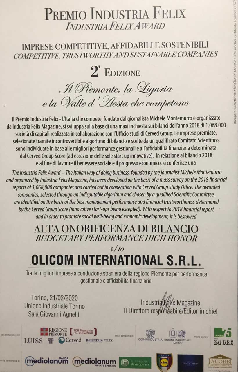 OLICOM INTERNATIONAL AWARDED AS OUSTANDING MANAGERIAL AND FINANCIAL PERFORMANCES